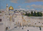"""Стена плача"". Иерусалим, 2014, 45х58, картон, масло"