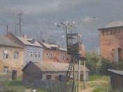 Голубятня в Коломне, 1994, 37х48, картон, масло