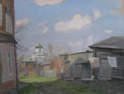 Старый двор. Коломна, 2015, 50х60, картон, масло