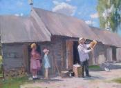 Семья пчеловода, 2016, 60х80, картон, масло