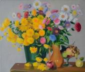 Цветы и фрукты, 60х70,2000,  холст, масло