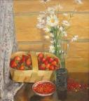 Натюрморт с клубникой, 2000, 60х54, холст, масло