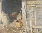 Деревенский двор, 1989, 40х50, картон, масло