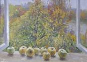 Антоновские яблоки, 2013, 60х80, картон, масло