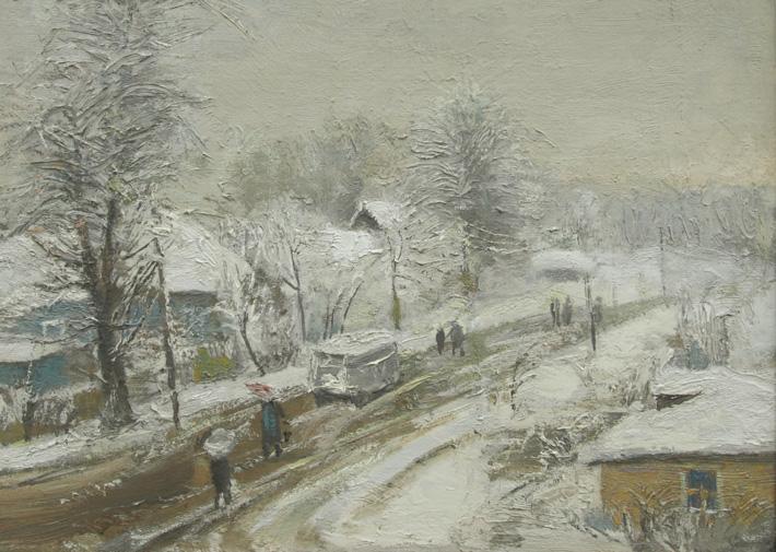 Снег идет, 1983,  38х48, холст, масло