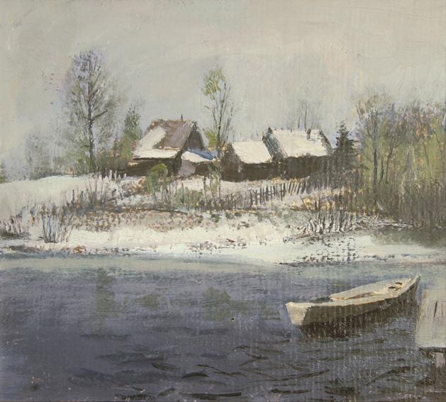 Река Мста, 1990 , 22х24,  картон, масло