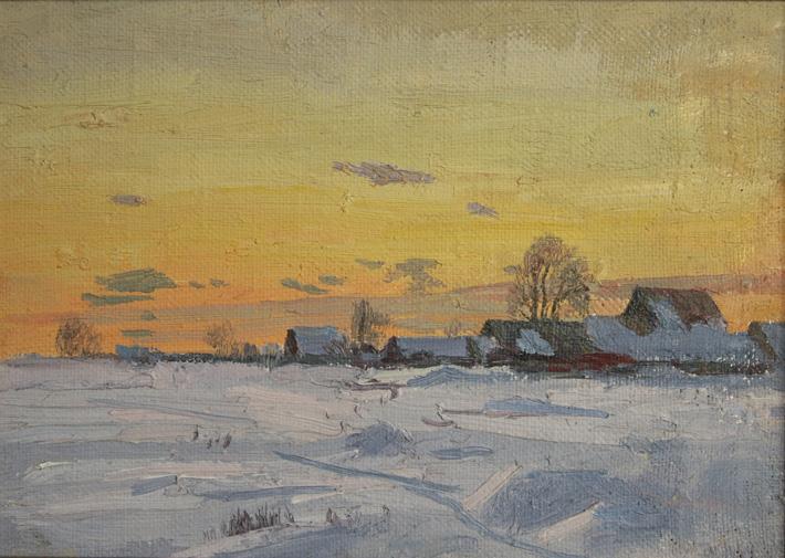 Зимой в деревне, 1997, 22х31, холст, масло