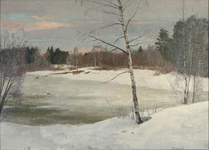 Зимой в лесу, 1993, 50х70, картон, масло