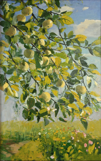 Плоды и ветви, 2001, 60х35, холст, масло