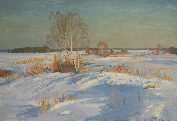 Зимнее солнце, 1994, 38х55, холст, масло