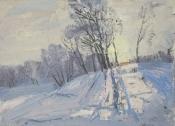 Морозный январский  вечер, 1985,  22х31, картон, масло