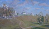 Рязанский кремль, 2015, 50х90, картон, масло