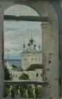 Колокольня Горицкого монастыря, 2014, 34х24, картон, масло