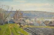 Деревня Васильево  весной, 2012,  51х79, холст, масло