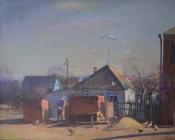 """Из серии картин """"Уходящая эпоха"""": Городская окраина, 1985, 75х93, холст, масло"""