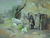 Старый двор, 1983, 80х100, холст, масло